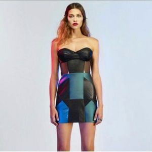 NASTY GAL COLORBLOCK FAUX LEATHER DRESS